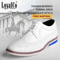 Fashion White men's Business Shoes New Arrival 2014 Geniune Leather shoes Spring Autumn LoyalCo Lace-Up Free Shipping brogues