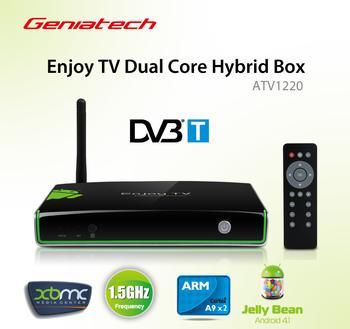 Geniatech ATV1220 Enjoy TV Box Built-in DVB-T Tuner receiver Dual Core Hybrid Android 4.1  Google Smart tv 1080P XBMC