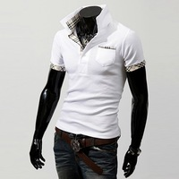 POLO Free Shipping 2013 New Casual Men's Slim Fit Stylish Short Sleeve Shirts/Shirt for man black white red M/L/XL/XXL MTP015