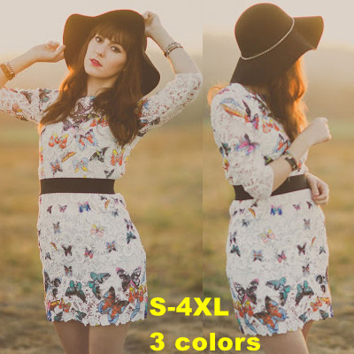 SALE Women 2014 fashion big Plus Size casual desigual novelty dress Butterfly Print Sexy girl Embroidery Lace mini party dresses(China (Mainland))