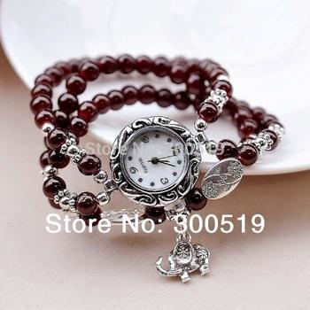 JW182 Three Circle Imitation Agate Bracelet Watch Woman Watches Silver Plating Elephant Pendant Lady Wrist Watch