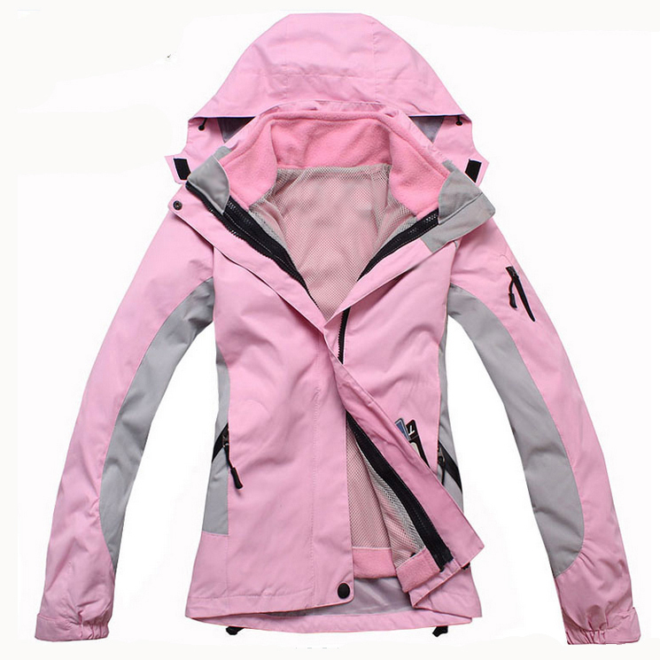 2013 Winter Skiing Jackets For Women Outdoor Snowboarding And Ski Jacket Waterproof Warm Two-in One Piece Blue Black Red Pink(China (Mainland))