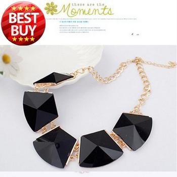 2014 New Designer Chain Dress Gold Geometry Choker Statement Neon Bib Vintage Statement Necklace Fashion Jewelry Gift For Women