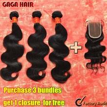 Brazilian Virgin Hair Weft Body Wave 3pcs Human Hair Weave Bundles with 1pcs Lace Closure GaGa Hair Products Hair Extensions(China (Mainland))