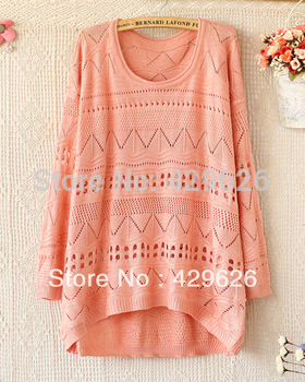 Autumn Women  Fashion Sweet Candy Color  O-Neck  Crochet Knit Blouse Pullovers  sweater 3080