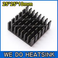 FREE Shipping 10pcs 25x25x10mm High Power Radiator Heatsink Black Anodized For IC Packages,BGA,PGA,QFP,LCC