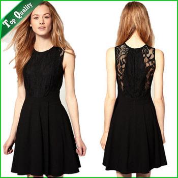 New 2014 Women Summer Dress Casual Dress Women Party Dress Lace Dress Color Black Plus Size S-XL WD001