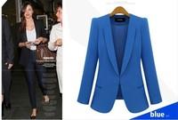 2014 Tops Fashion Women'sTunic long sleeve classical black blue red plus size XXXL  4XL Blazer  Suit jacket Autumn Spring Coat
