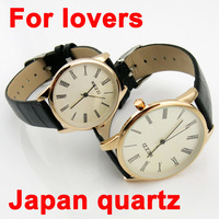 Japan Quartz Lovers' Watch/Top Quality Branded wristwatches with Roman Numbers/ Leather Strap Hours 2013 New For Christmas Gift