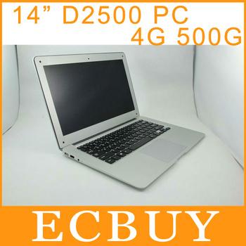 14 inch Ultrabook Notebook Laptop Computer PC Windows 7 Intel Atom D2500 1.6Ghz 4GB RAM 500GB ROM DHL Free Shipping