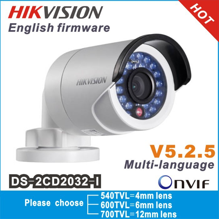 Hikvision Original gun waterproof security network cctv camera DS-2CD2032-I 3MP IR ip camera mini support POE(China (Mainland))