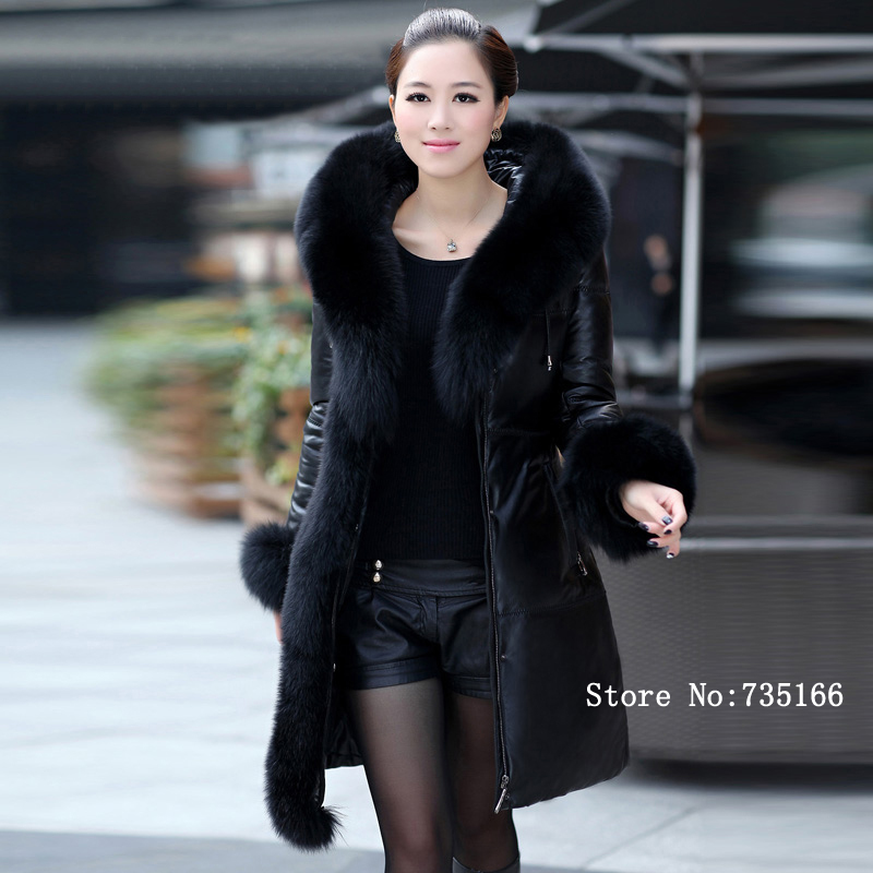 New 2013 Fashion Winter Women Genuine Sheepskin Leather Jacket With White Duck Down Coat Huge Fox Fur Hooded(China (Mainland))