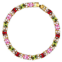Gold Plated Bracelets For Women 2013 Multi Colors Crystal  #BA100982 5mm*190mm Exquisite CZ Charms Bracelets & Bangles