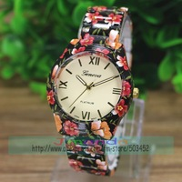 50pcs/lot Super Seller Flower Alloy Watch Fashion GENEVA Brand Ladies Dress Quartz Watch Wholesale Price Casual Floral Watch