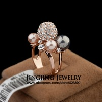 2014 Noblest 18k Rose Gold Plated Natural Pearls and Alloy Rhinestones Luxury Stacked Finger Ring for Women Jewelry (GA061)