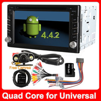 Quad Core 100% Pure Android 4.4.2 Car DVD Player for Universal 2 din GPS Navigation Stereo Audio Radio Capacitive Screen