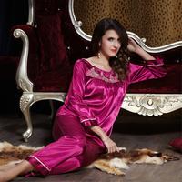 new 2014 pijama for women pajama sets sexy sleep lounge satin indoor clothing pajamas set sleepwear nightgown pijama 2 pcs plus