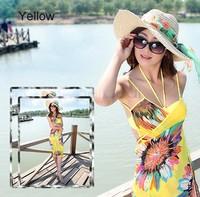 2014 New Fashion Summer Sexy Swimwear Open-Back Wrap Front Cover Up One Piece Brand Beach Dress Women saia Bikini SV001144#006