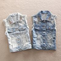 outwear vest jeans waistcoat woman jacket spring clothes summer coat autumn casual gilet 2014 new style 2 colors size S M L