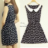 2014 new arrival summer dress Korea Fashion st Women's Slim Doll Collar Sleeveless Cute One-piece Floral Vest Dress #010 13219