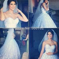 Glamorous Ball Gown Sweetheart Appliqued Beaded Sleeveless Flower Wedding Dresses