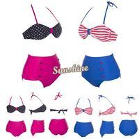 New Sexy Women's Retro Vintage Swimsuits Swimwear Bandeau High Waisted Bikini Set Dropshipping S M L XL b11 SV001267
