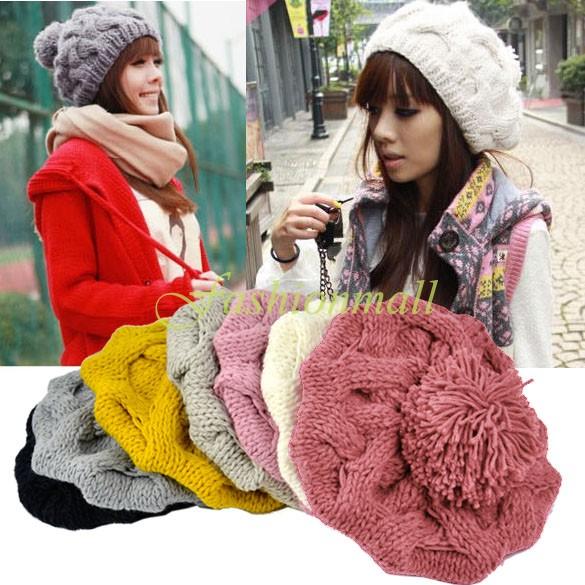 2014 New Fashion Korean Women's Winter Warm Knit Wool Hat Beanie Crochet Warm Pumpkin Ball Cap 29(China (Mainland))