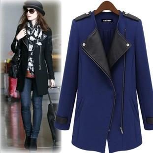 2014 Fashion winter jacket women Casual Black/blue jacket Contrast PU Leather Trims Oblique Zipper Coat casacos xxxl plus size(China (Mainland))