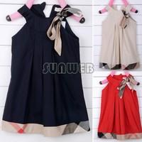 Wonderful New Baby Girls Sleeveless Dresses High Quality Bow Casual Cotton Knee-length Princess Dress B16 SV003280