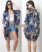 Kimono Cardigan 2014 Fashion Women Summer Spring kimono coat blouses European Style long kimono blouse B003 SV006082