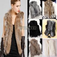 3 types For Choose: Real Rabbit Fur Gilet With Raccoon Fur Collar Coat / Faux Fur Leather Vest / Faux Fur Coat Jacket Beige b6