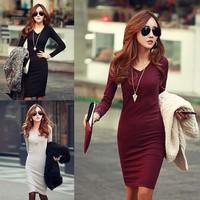 Vestido Casual Women Winter Dress New Fashion Women Knitted Sweater Dress Fitted V-Neck Sexy Elegant Work Pencil Dress B2#