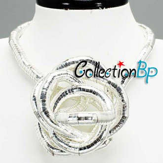 Retail Guaranteed 100%Silver Plated Punk Necklace Twistable Flexible Bendable  Bendy Snake Necklace Manufactory Price