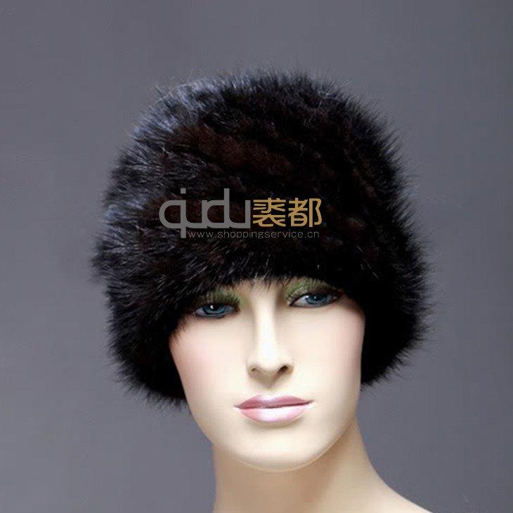 De mode de dame d'origine naturelle et fourrure de vison tricoté chapeau d'hiver chapeaux de fourrure des femmes chapeaux bonnets qd10365