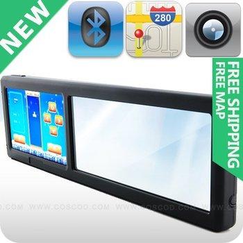 Rearview Mirror Gps Navigation with Bluetooth FM MP3 AV-IN 4GB free Garmin/igo/r66 map can choose add camera
