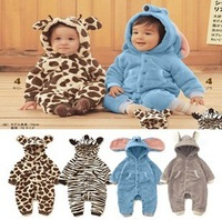 New Arrival Lovely 4 Animal Style Baby rompers Baby clothing cotton fleece jumpsuit autumn/winter rompers Free Shipping
