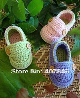 Crochet baby shoes infant boy loafers 2 button cotton 0-12M size 14pairs/lot custom