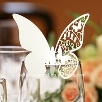 Free Shipping 120pcs in a lot Laser Cutting Butterfly Wine Glass Card Place Card