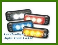 Free shipping! High quality DC12V, 3pcs GENIII*1W Led Grille light/Led headlight/Led warning light,waterproof