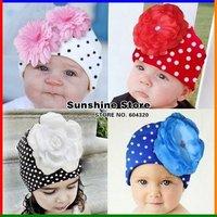 Dots winter baby girls hat flower christmas beanies cotton skull cap;point kids toddler children #2B1502 10 pcs/lot(28 style)