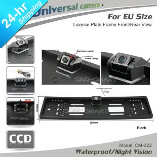 "HD CCD 1/3"" EU European car license plate frame Parking rear view reverse camera for car night vision waterproof free shipping"