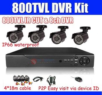 800TVL CCTV System 8ch DVR 4pcs 800TVL Outdoor IR Cameras with IR Cut Filter 8ch DVR Kit  Security Camera System D1 DVR