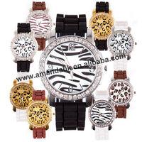 65pcs/lot,hot sale fashion crystal watch Casual leopard& zebra print Ladies quartz watch women men Silicone dress wristwatches