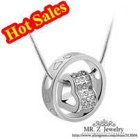 Hot Sales CZ Rhinestone Crystal Heart Necklace High Fashion Designer Jewelry Free Shipping