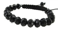 Fashion Shamballa Bracelet, wax cord with faceted crystal beads, black, 10x8mm, Sold per 7.5 Inch- Strand