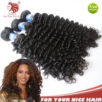 4pcs/lot deep curl grade 6A Brazilian Hair Weaving 100% Virgin Human Hair Extension Natural Black 12-30''DHL Free Shipping