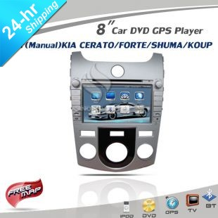 New Silver 8 inch Car DVD with iPod GPS TV BT for (Manual) KIA Cerato Forte Shuma Koup CE/ROHS/FCC +4Gmap