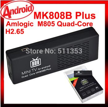 Original mk808 MK808B PLUS Android 4.4 Jelly Bean Droid Stick Amlogic  M805 Quad-Core 1.5G 1GB 8GB mini pc android  mk808