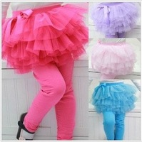 Hot sale ! girls skirts leggings,Sweet Children skirt with tight legging Girls multi-color yarn skirt wholesale 4colours