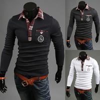 2014 autumn new Hot-selling Fashion tops cotton shirt high-elastic lycra cotton men's long sleeve  shirts free shipping